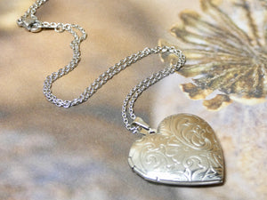 Heart Locket Necklace, Silver Swirl Pattern
