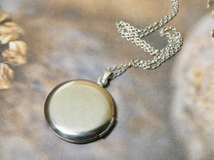 Circle Locket Necklace, Silver Flower Pattern