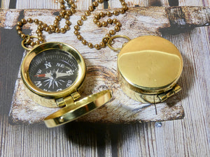 Compass with cover Necklace, Brass Compass Pendant
