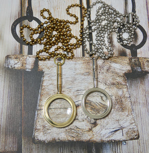 Magnifying Glass Necklace, Silver Handle Pendant