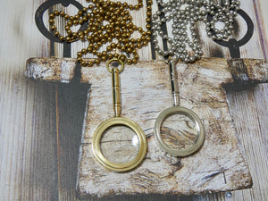 Magnifying Glass Necklace, Brass Handle Pendant