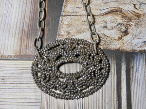 Vintage Steel Cut Shoe Clip Necklace