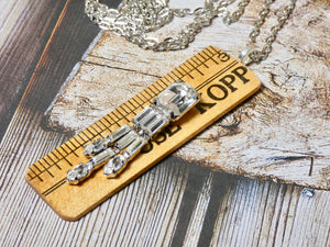 Vintage Ruler Necklace, One of a kind Rhinestone Pendant