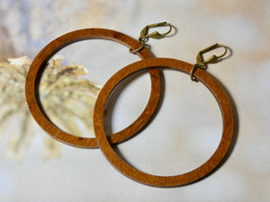 Circle Wood Earrings, Natural Chestnut Large Circle Infinity Earrings