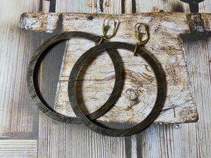 Circle Wood Earrings, Natural Ebony Large Circle Infinity Earrings