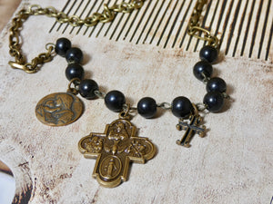 One of a Kind Bronze Cross Necklace
