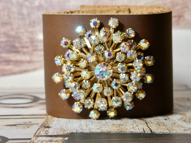Vintage Cuff Bracelet - repurposed brooch with Aurora Borealis Stones