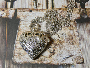 Heart Pocket Watch Necklace in Silver