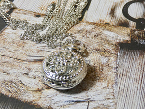Silver Pocket Watch Necklace - Silver Flower Design