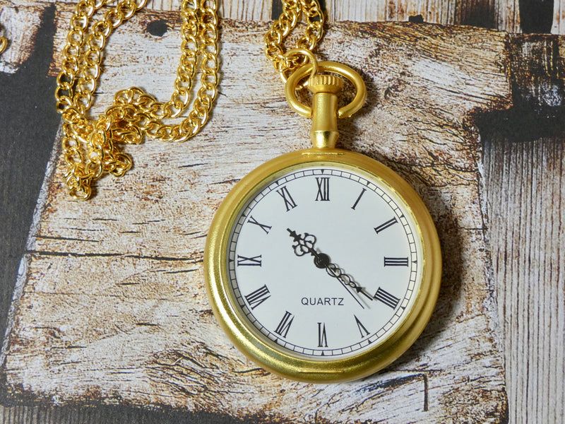 Pocket Watch Necklace - Matte Gold Watch