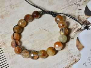 Rutilated Quartz Beaded Adjustable Bracelet