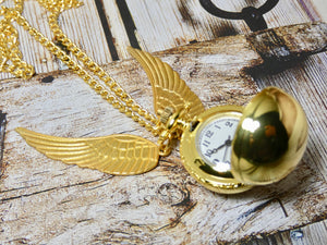 Golden Snitch Pocket Watch Necklace - Harry Potter Watch in Shiny Gold