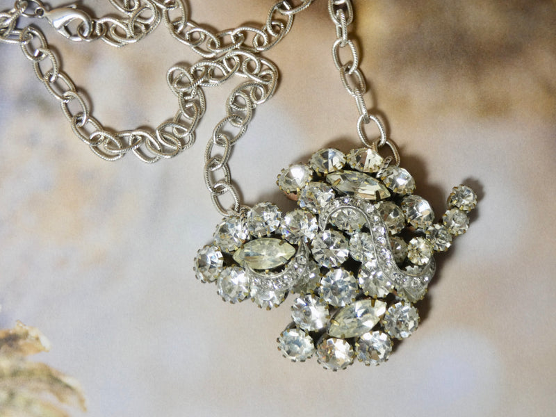 One of a Kind Vintage Rhinestone Brooch Necklace