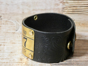 Leather Cuff Bracelet Goodyear Brass Tag #92-17