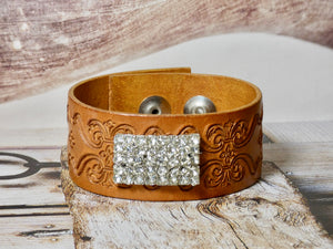 Leather Cuff Bracelet with repurposed rhinestone brooch