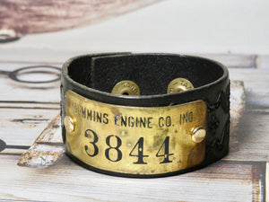 Leather Cuff Bracelet Cummins Engine CO Brass Tag #3844