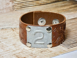 Leather Cuff Bracelet #2 Locker Number