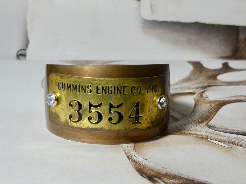 Metal Cuff Bracelet, Cummins Engine CO Brass Tag #3554
