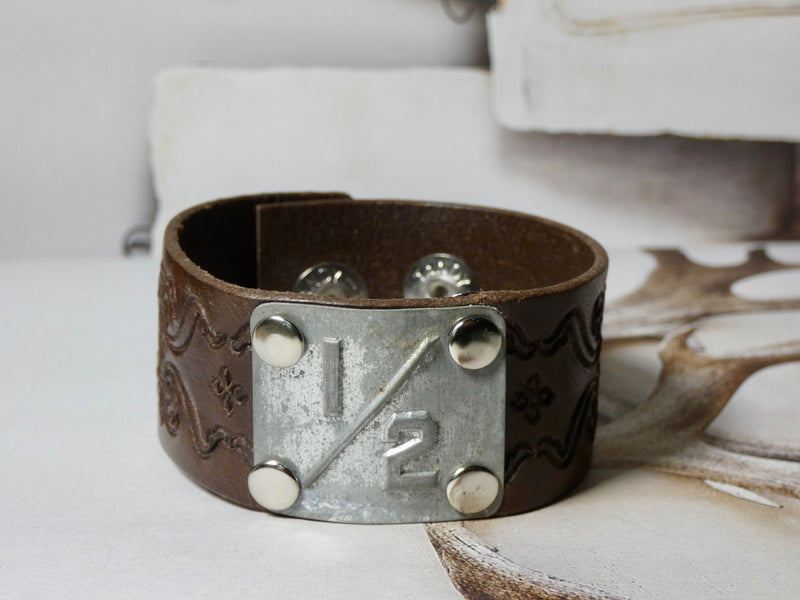 Leather Cuff Bracelet #1/2 Locker Number