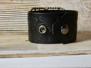 Leather Cuff Bracelet, Repurposed French Shoe Clip