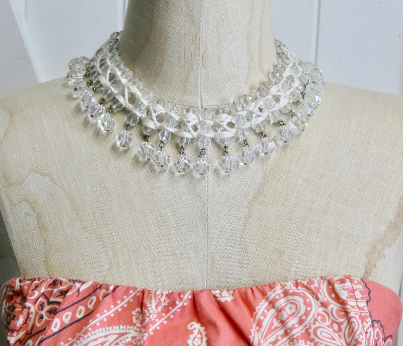 Vintage Crystal Necklace, One of a Kind rare piece, Can also be a belt