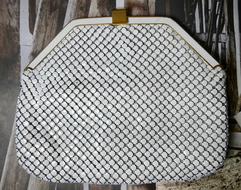 Vintage Handbag, White Chain Mail Purse