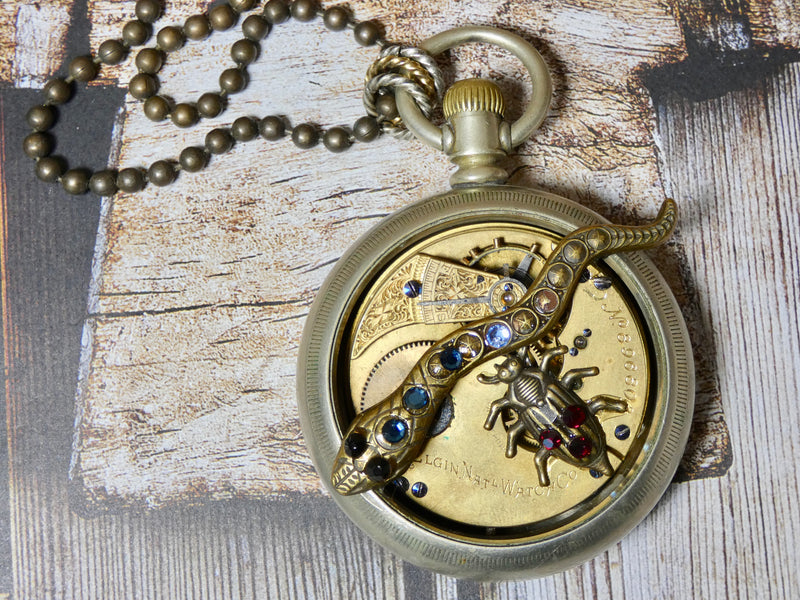 Steampunk Altered Pocket Watch Necklace, Snake and Bug Steampunk Pendant