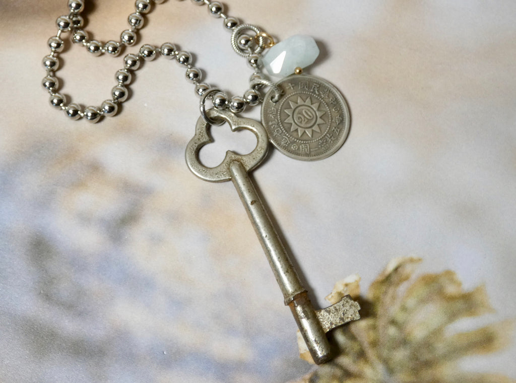Vintage Skeleton Key and Coin Necklace