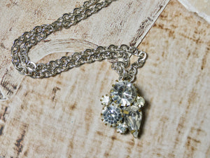 One of a Kind Vintage Necklace, Sweet Simple Rhinestone Pendant