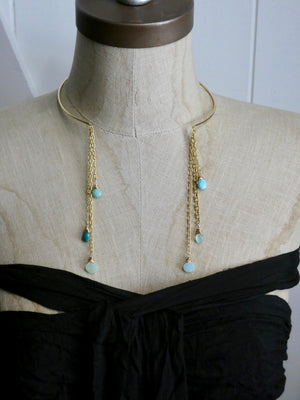 Gold Wire Choker with Fringe Necklace, Turquoise gemstone Necklace