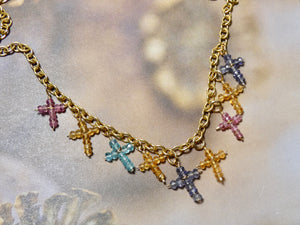 Cross Necklace with multi tiny gemstone crosses