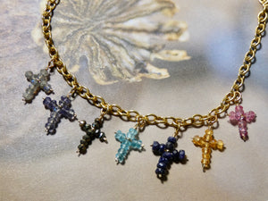 Cross Necklace with tiny gemstone crosses