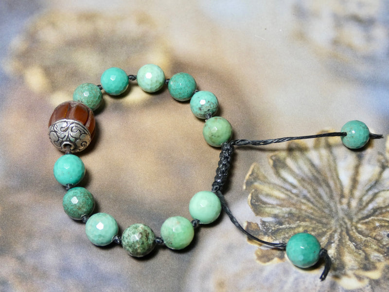 Turquoise Hand Knotted Beaded Adjustable Bracelet