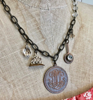 One of a Kind Vintage Monogram Charm Necklace