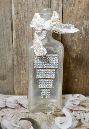 Embellished Apothecary Bottle with repurposed Vintage Rhinestone
