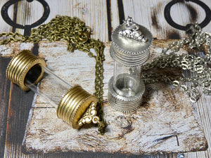 Bottle Pendant, Gold and Glass Empty Urn Bottle Necklace