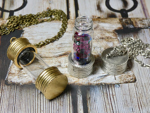 Urn Pendant, Silver and Glass Empty Bottle Necklace