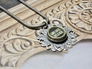 Typewriter Key Necklace • Line Lock Release Typewriter Key