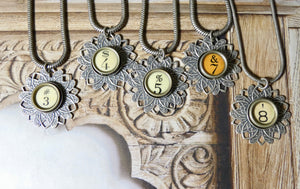 Typewriter Key Number Necklace
