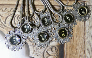 Typewriter Key Necklace • Number Typewriter Keys in Black