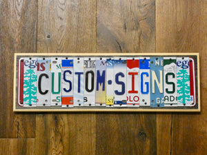 GONE FISHING Sign with repurposed License Plates