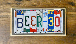 BEER 30 Sign made with repurposed License Plates