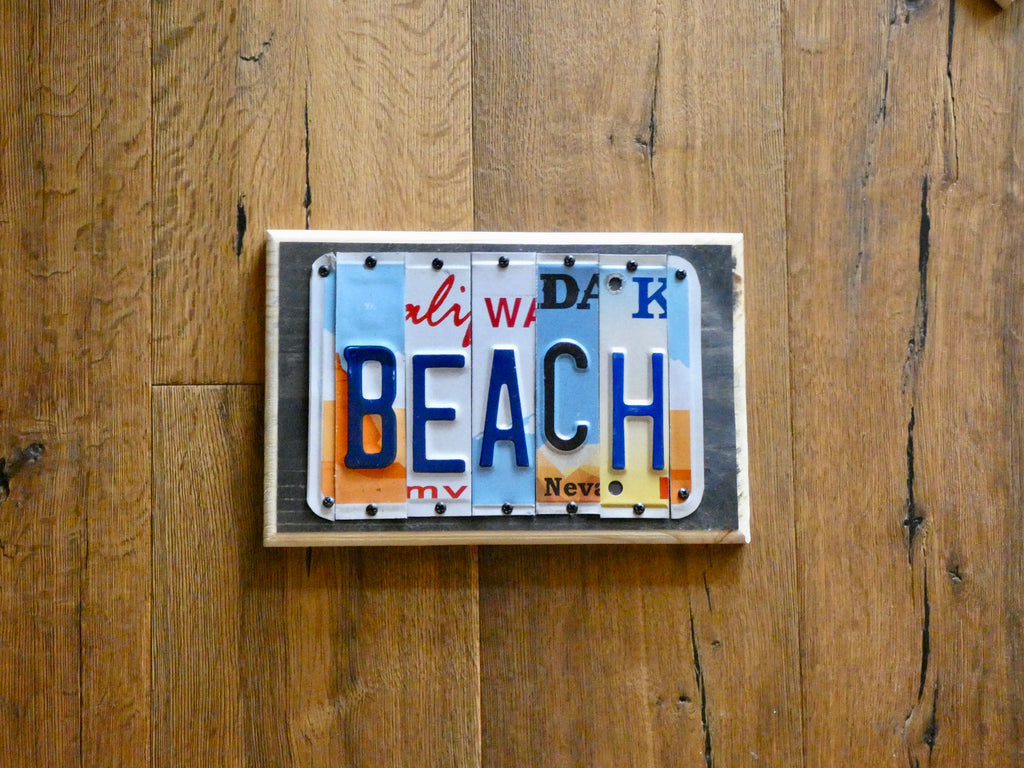 BEACH Sign made with repurposed License Plates