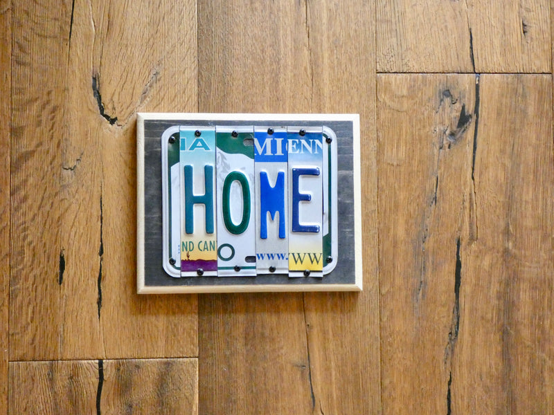 HOME Sign made with repurposed License Plates