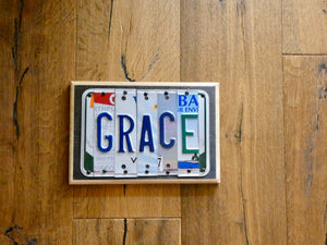 GRACE Sign made with repurposed License Plates