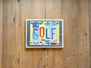 GOLF Sign made with repurposed License Plates