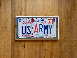 US ARMY Sign made with repurposed License Plates