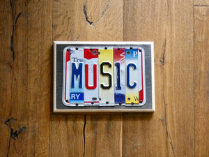 MUSIC Sign made with repurposed License Plates