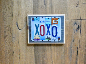 XOXO Sign made with repurposed License Plates
