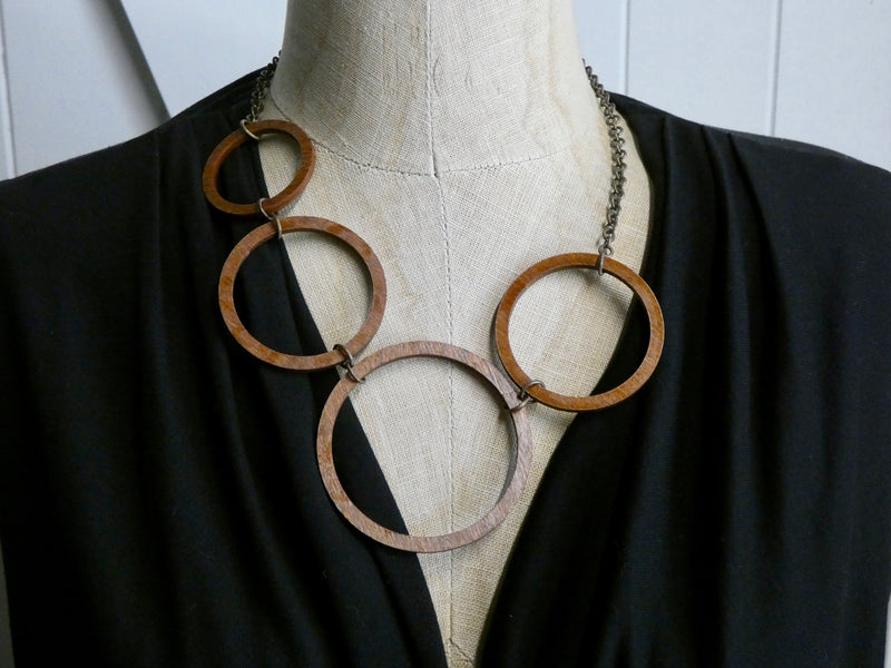 Wooden Circle Necklace- Four Chesnut Circles